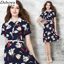 Debowa Fashion Print Dress Women 2017 New Summer Dress Short Sleeve Women Casual Dresses High Waist Beautiful Euro Brand Dress