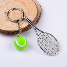 1 piece Hot Sale Creative Personality Simulation Color Tennis Ball Keychain Key Ring Handag Pendant Accessory For Women Men(China)