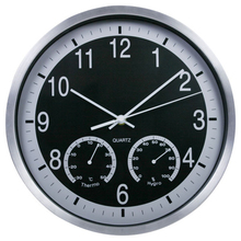 Creative Needle Wall Clocks Aluminum Mute Circular Living Room Wall Clock  with Thermometer&Hygrometer Christmas Gifts 12 inch