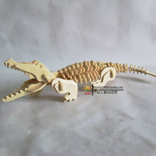 3 D puzzle toy fancy The crocodile wood puzzles assembled wooden animal model