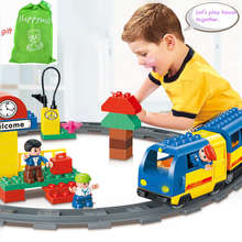 Happywill HM238 51 PCS Original Track Electric Train School Bus Conductor Boy Big Block Brick Set Baby Toys Compatible(China)