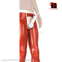 Buy Sexy Orange Latex Leggings Penis Sheath piss tube Bcock ball Long Rubber pants Latex Trousers Condom plus size XXXL KZ-100