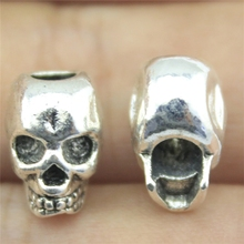 WYSIWYG 5pcs 12*11mm Antique Silver Color Death Skull Head Skull Big Hole Beads Fit Bracelet DIY Necklace