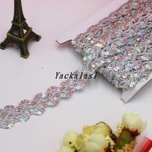 YACKALASI Sequined Braid Ribbon Lace Applique 13-14 Yds/Lot Laser Gold Silver flower Apparel Sewing Trims Accessories 2.6CM(China)