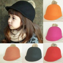 Wholesale 8pcs Nice Girls Winter Wool Caps Boys Spring Derby Toddlers Felt Pom-pom Hats Autumn Bowler Hat Children Riding Cap(China)