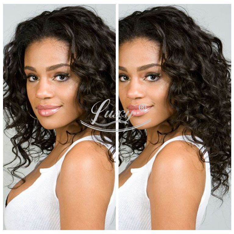 7A Grade Virgin Peruvain Virgin Hair Front Lace Wigs/Full Lace Wigs Natural Black Color Curly Human Hair Wigs For Black Women<br><br>Aliexpress