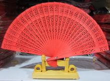(50 pieces/lot) New Chinese sandalwood fans Promotional hand fans Fancy wedding favors 8 inches 7 colors available