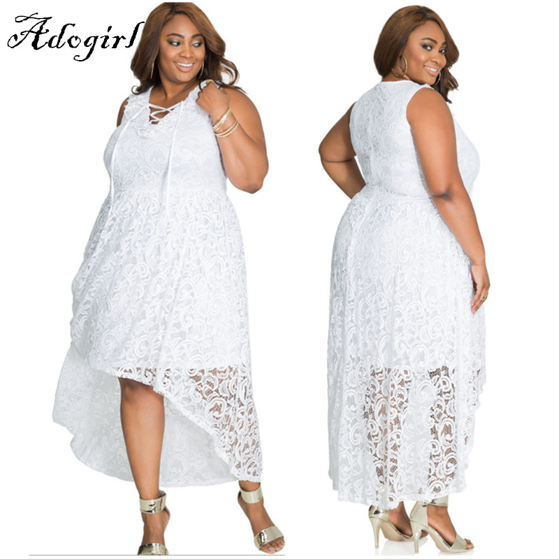 Adogirl 2017 Summer Sexy White Lace Plus Sizes 3XL 4XL Hi-Low Dresses-3