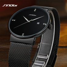 Buy Men Watches Top Brand Luxury SINOBI Waterproof Ultra Thin Date Clock Male Steel Strap Casual Quartz Watch Men Sport Wrist Watch for $16.99 in AliExpress store
