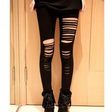 2018 Fashion Style Summer Sexy Leggings Women Cotton Torn Ripped Hole Ninth Pant Leggings Brand New Women Clothing Free Size(China)