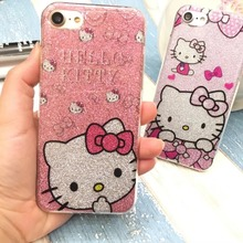 New TPU Soft Silicone Case hello kitty cover for iPhone 6 6s plus 7 7 Plus Bling Glitter Powder Shine Cell Phone Case