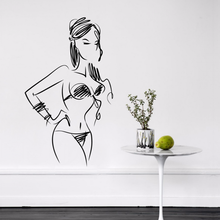 Sexy Abstract Line Art Hot Girl Illustrations Sketch Pvc Wall Decal Wallpaper Wall Sticker Bathrooms Decor Stickers