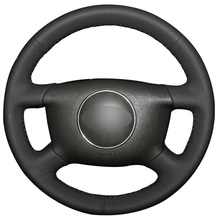 Black Artificial Leather Car Steering Wheel Cover for Audi A6 2000-2004 Audi A3 2000-2003(China)
