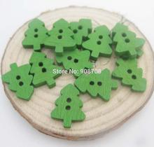 Green Buttons christmas Tree 100pcs/lot DIY home decoration 2 holes sewing wood button 161011002