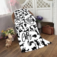 Funny Aztec Cats Black Shadow Towel Printing Soft Bath Beach Towel Microfibe Bathroom Shower Quick Drying Washcloth Kids Blanket