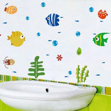 1 Set New Cartoon Bathroom Wall Stickers Seafood Spit Bubbles Children Kids Bedroom Bathroom Wall Decal Stickers Home Decor Cute