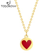 Buy Todorova New Silver Gold Tiny Red Heart Love Necklace Clavicle Chain Models Romantic Petite Friendship Necklace Pendnat for $1.13 in AliExpress store