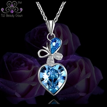 925 Sterling Silver Micro Paving White Cubic Zirconia Butterfly Ocean Blue Heart Pendants Necklaces For Women Female Jewelry