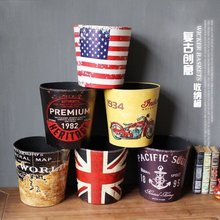 European Style Retro Leather Trash Cans American Creative Fashion Home Waste Bins Kitchen Living Room Decoration Storage Bucket