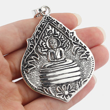 5pcs Large Antique Silver Water Drop Shape Carved Thai Buddha Charms Pendants for Jewelry Making Findings(China)