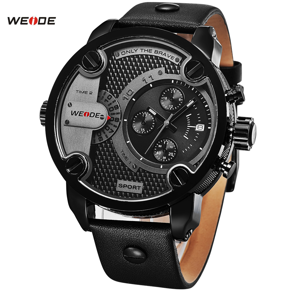 WEIDE Watches Men Luxury Brand Leather Strap Quartz Dual Time Analog Date Sport Military Oversize Men Wristwatches<br><br>Aliexpress