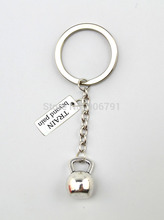 10pcs a lot TRAIN beyond pain charms and sport kettle bell charms key chains(China)