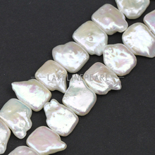 12-13mm square shape Keshi pearl strands,white color baroque pearl strand,freshwater pearl strand for costum jewelry design