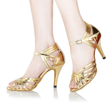 Women Latin Dance Shoes Plus Size High Heel Soft Sole Adult Ballroom Dancing Shoes Silver Gold Salsa Tango Square Shoe