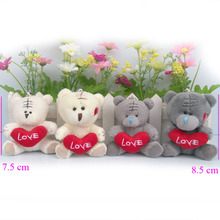 7.5cm 8.5cm Valentines Stuffed plush Toys teddy bear with heart, soft toys for cartoon bouquets ,plush teddy bear 10 piece/lot(China)
