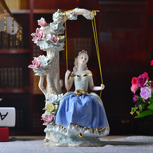 Western Female The girl on the swing Home Decor Ceramic Figurines Art Crafts Coffee Bar Porcelain Ornament Wedding Decoration(China)