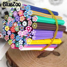 BlueZoo New 50pcs Nail 3D Fimo Nail Stickers Flowers Fimo Canes Polymer Clay Nail Decal DIY Nail Art Decoration