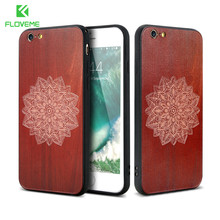 FLOVEME Laser Engraved Wood Case For iphone 7 6 6S Plus Original Retro TPU + Acrylic Ultra Thin For iphone6 6S 7 Back Cover Case