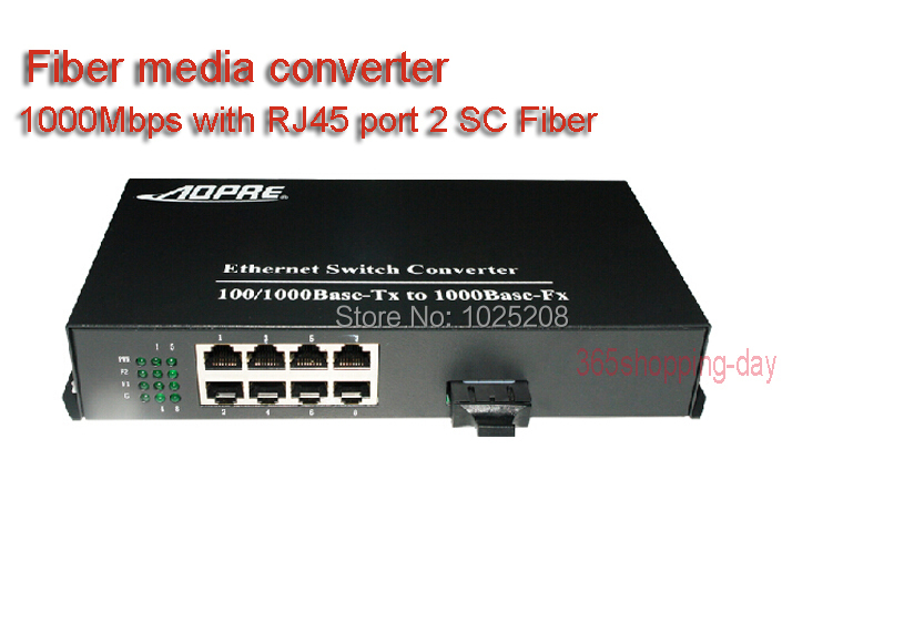 10/100/1000Mbps Fiber Media Converter with 8 RJ45 2 SC Fiber port for HD Camera 1 Pair