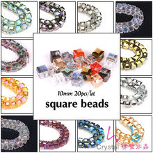 10mm Plating AB Square 20PCS/LOT Cube Beads  Natural Stones Austrian Crystals Loose Beads For DIY Make Jewelry Bracelets