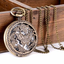 Antique Bronze 8 Style Horses Butterfly Owl Quartz Pocket Watch With Sweater Necklace Chain Steampunk Men Women Fob Gift