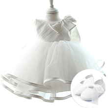 0-2 Years Baby Baptism Classes Wedding Dress Pure Big White Butterfly-knot Angel princess Dress