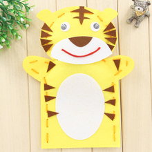 EVA Cloth Cute Animals Tiger Frog Santa Claus Snowman Finger Hand Puppet Doll Kids DIY Assembling Puzzles Educational Toys
