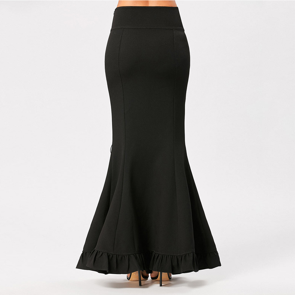 VESTLINDA Women Skirts Black Victorian Gothic Criss Cross Side Ruffled Maxi Mermaid Skirt Costume Fishtail Mermaid Long Skirt 3