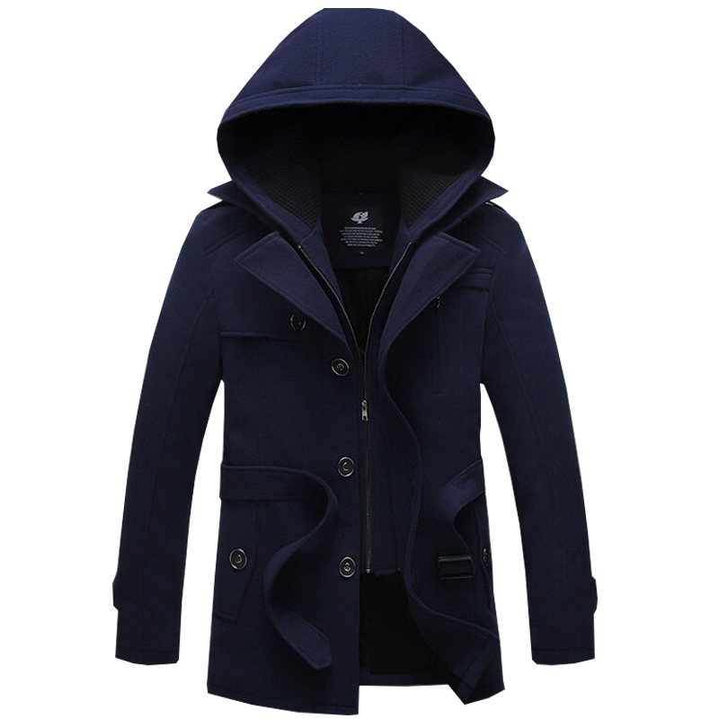 2017 High Quality Mens Trench Coat Warm Outerwear Casual Men Jacket With Big Size M-4XL Fashion Men Overcoat