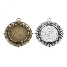 Inner Diameter 25mm Double-Sided Blank Pendants Tray Flower Style Cabochon Base Cameo Setting Necklace Jewelry Findings  F5103