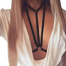 Sexy Bandage Body Bra Chain Jewelry Choker Black Elastic Band Beach Jewelry Collares Women Chain Necklace Chocker Bikini