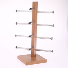 High Grade 4 Layer Metal Supporter Wood Glasses Eyeglass Display Prop Stand Organizer Holder