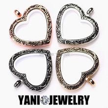 10pcs/lot Free Chain Vintage Heart Locket Pendants Necklace Magnetic Glass Charm Floating Locket(China)