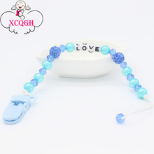 XCQGH Personalized Name Baby Pacifier Holder Clip Soother Clips Dummy Nipple Holder Chain Pearl Beads Attache Sucette(China)