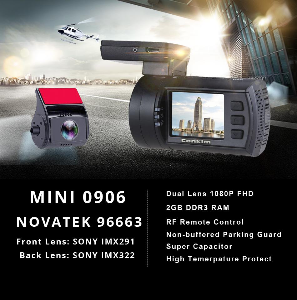 Conkim Mini 0906 Two Camera GPS Car DVR Registrar 1080P Full HD Rear View Camera Capacitor Dual Lens DVR Parking Guard Sensor 2