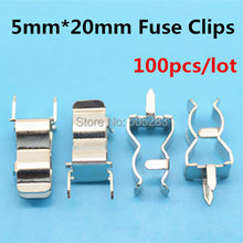 100pcs/lot 5*20mm Fuse Clips fuse block fuse holder clip DIP PCB Electronic 5x20mm Fuse Tube insurance clips HY047*100