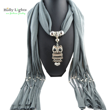 women winter grey collier scarf necklace&pendants owl bird animal vintage maxi scarf choker soild color black jewelry new fall(China)