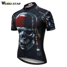 Weimostar Skull Pirate Cycling Jersey Shirt Men Summer MTB Bike Jersey Downhill Bicycle Clothes Quick Dry Cycling Clothing Ropa