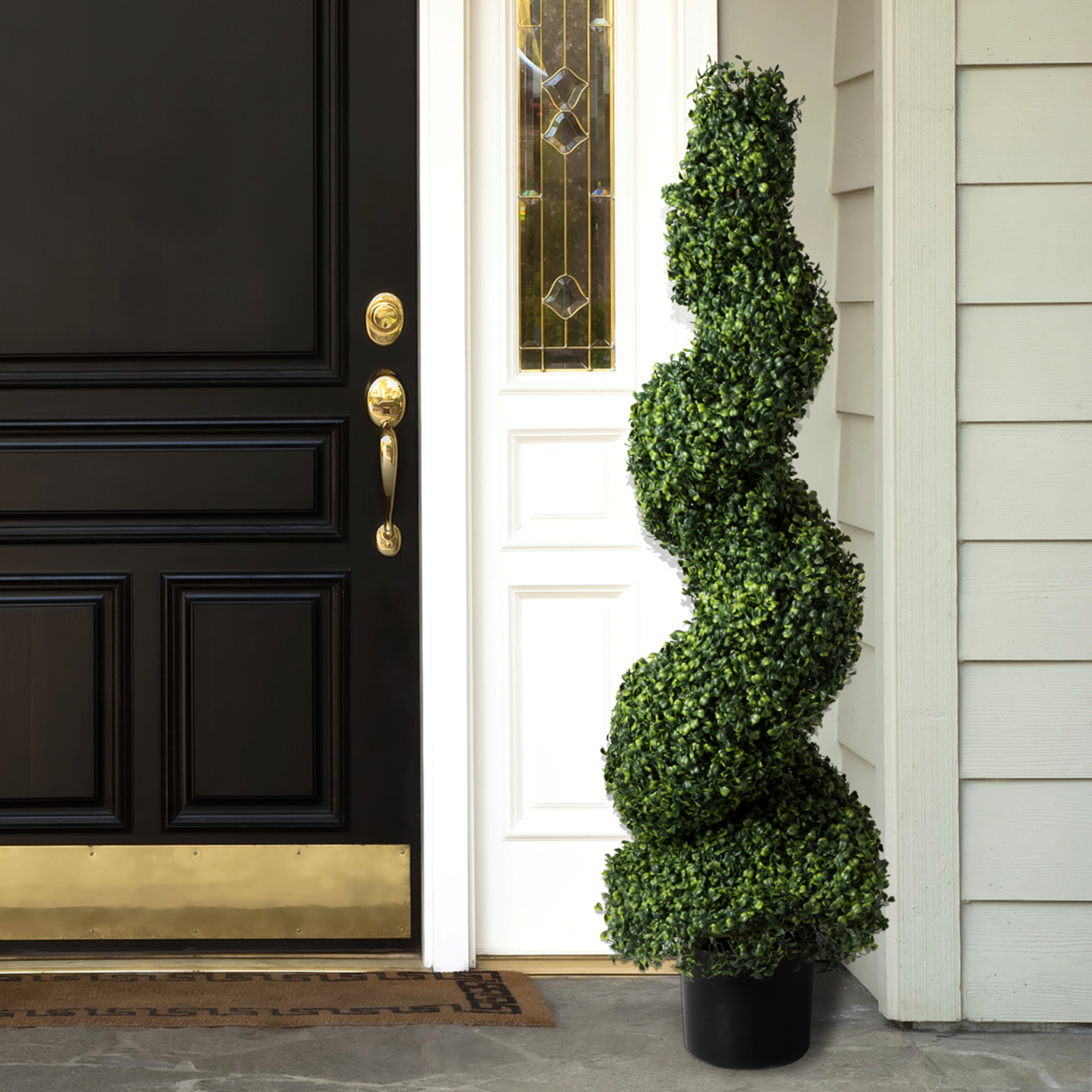 Artificial Boxwood Spiral Tree Over 4 Ft Tall Faux Plant Topiary Indoor Outdoor (1)