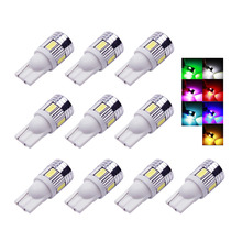 10 Pieces T10 W5W Car Lights 6 SMD 5630 LED Lamp 194 168 DC 12v Car Auto Light Bulbs For car styling(China)